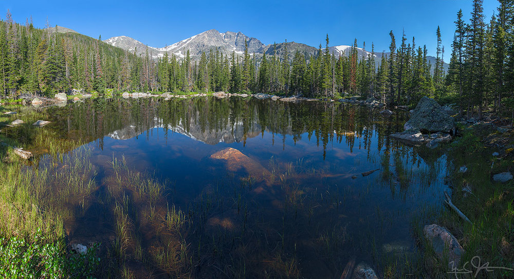 Chipmunk Lake with the Mummy Range in the distance, Rocky Mountain National Park.
