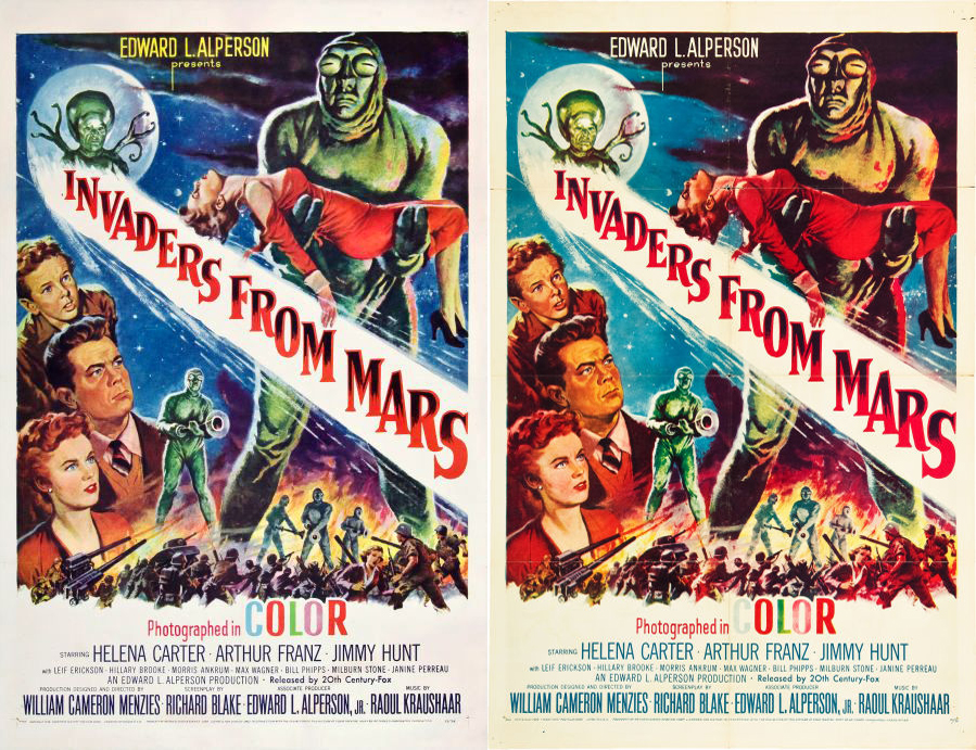 Invaders From Mars. Original Poster: Left,  Re-Issue: Right