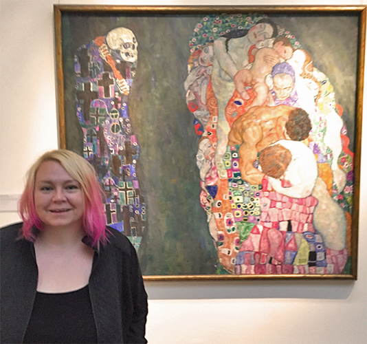 "Heather Shirin in front of ""Death and Life"" by Gustav Klimt at the Leopold Museum, Vienna Austria"