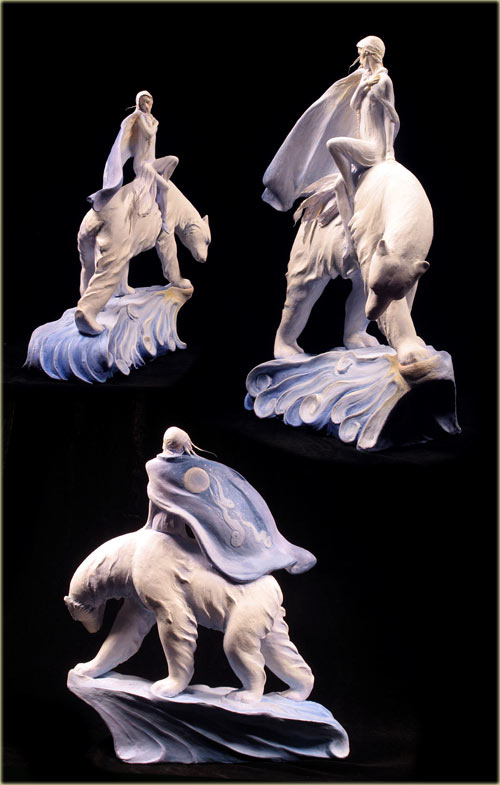 East of the Sun, West of the Moon: girl on a white bear in air dry Premier clay.