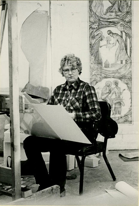 Lou Rogers (Forest's mother) designing.