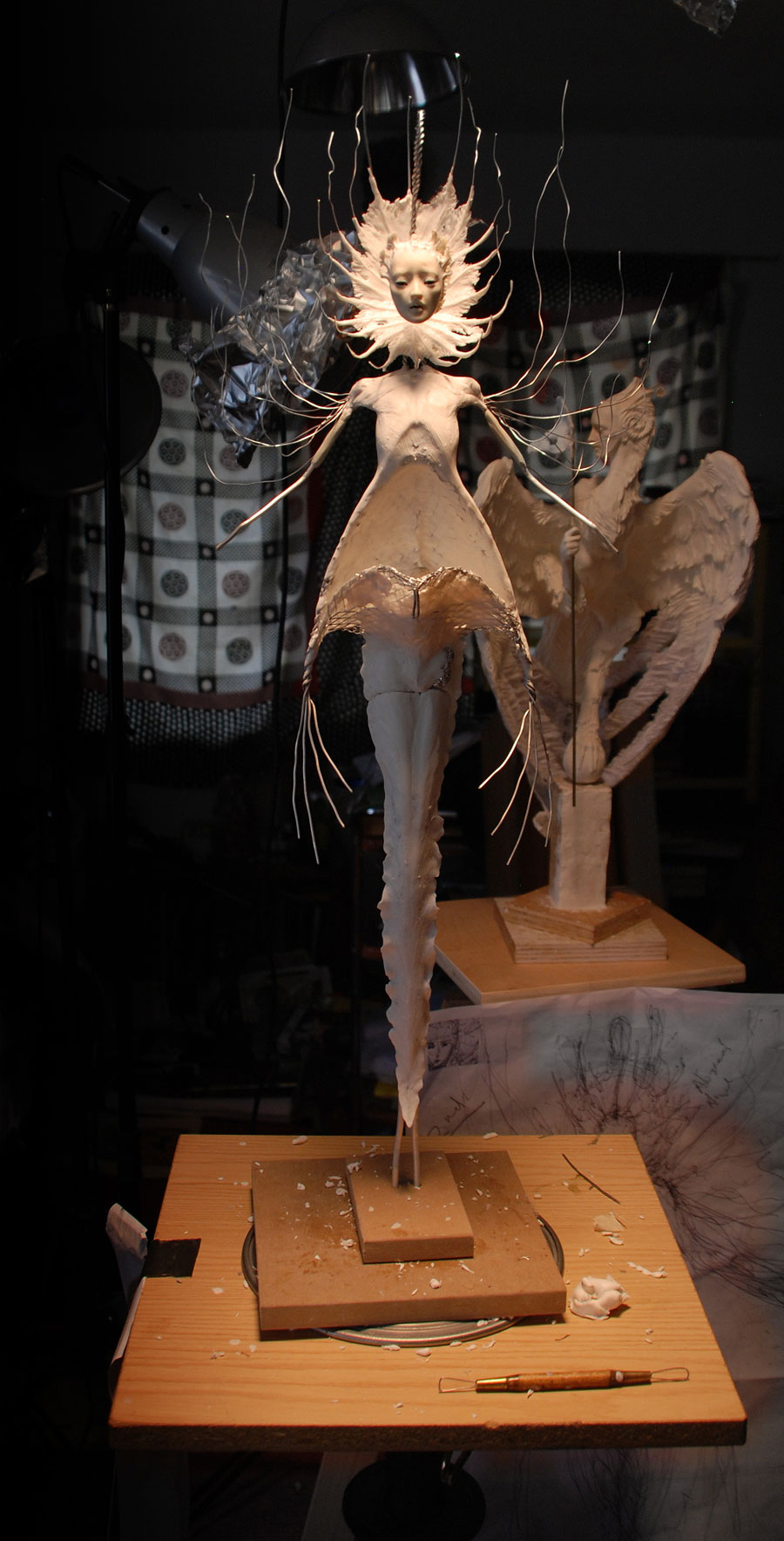 """Abyssal Angel, WIP in Kato Polyclay over aluminum and Aves """"Fixit Sculpt"""" armature. About 30"""" tall, with all appendages."""