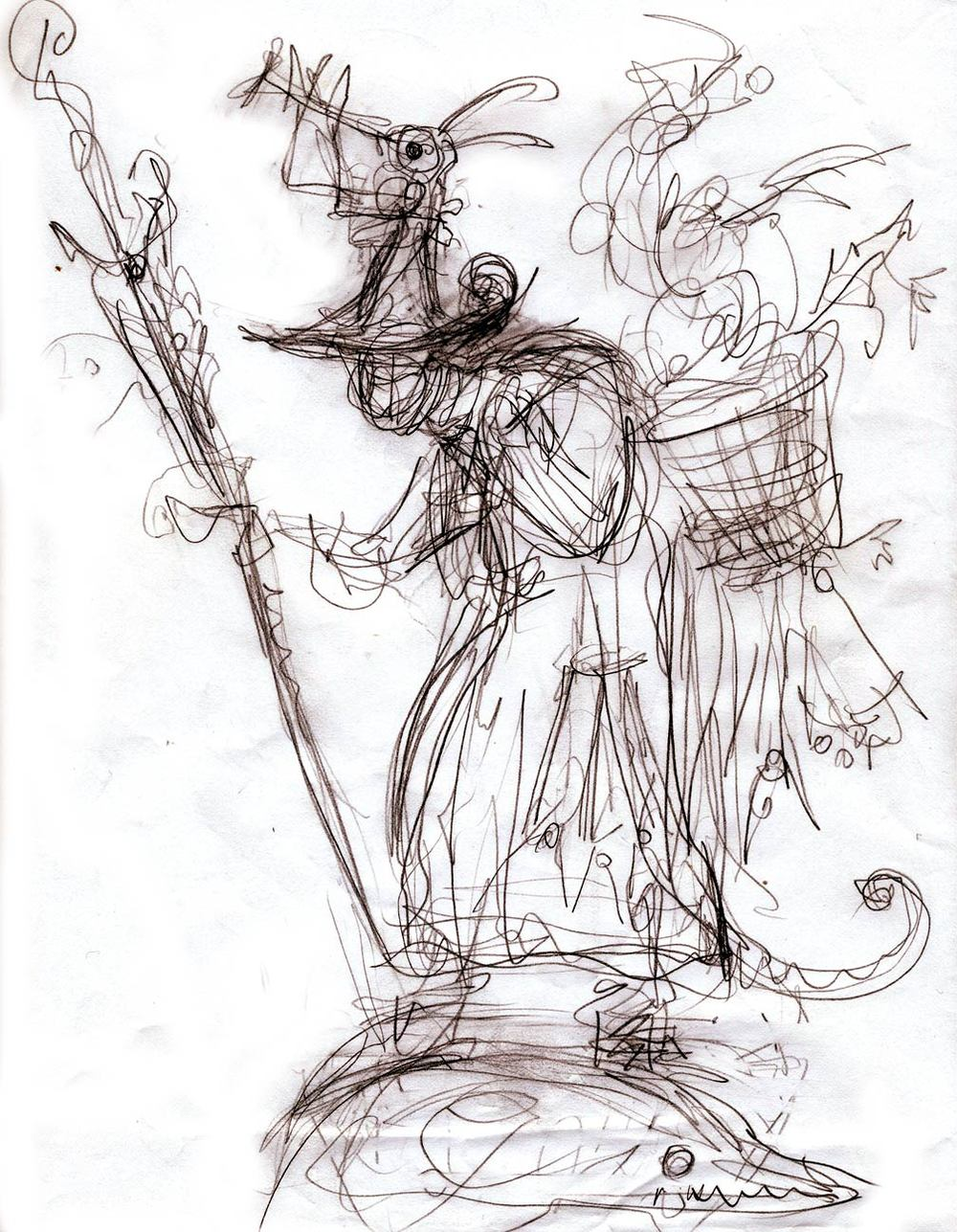 Sketch for Peddler to Bosch & Bruegel. I will be having fun with this one!!