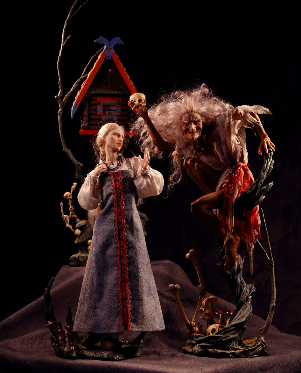 Baba Yaga and Vasilisa, with Hut. Dolls in Kato Polyclay