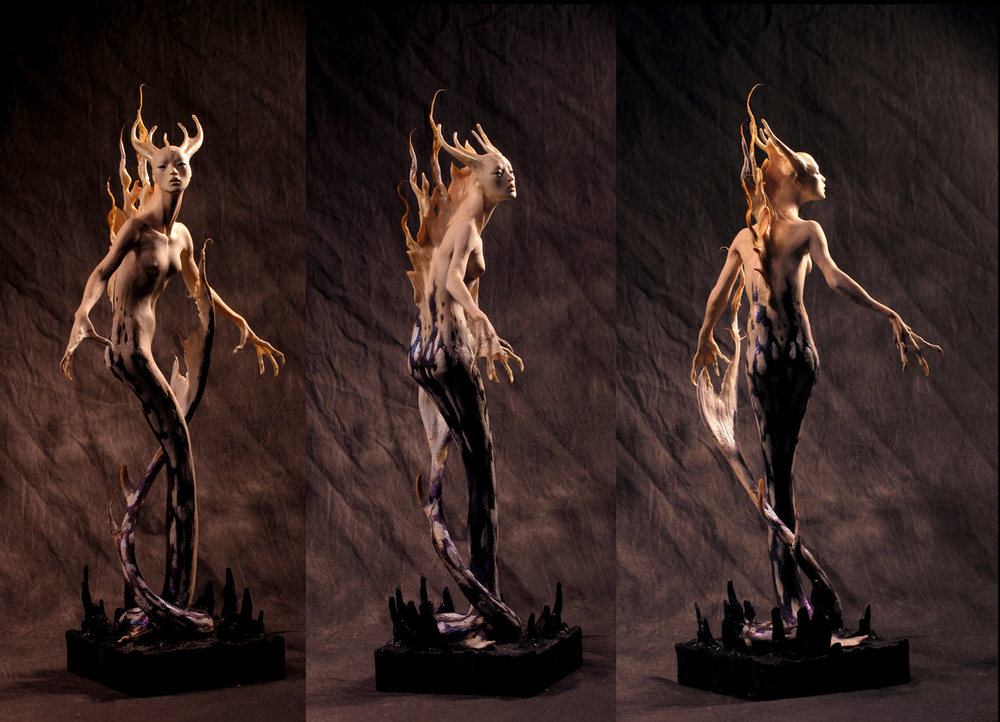 "Dragon Woman, about 12"" tall in Kato Polyclay."