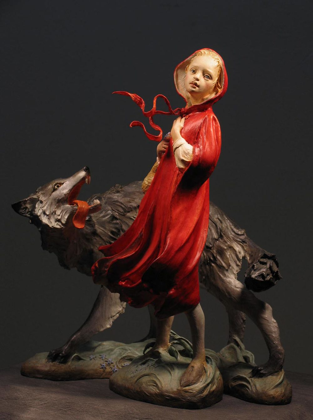 Little Red and the Wolf in air dry clay Premier, with Aves Fixit Sculpt to strengthen armatures and bases.