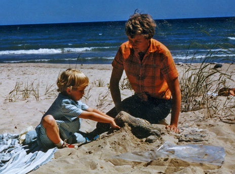 With my artist mother, Lou P. Rogers. Perhaps my first sculpture: a toad in the sand, at Matunuck, RI. A very, very long time ago.