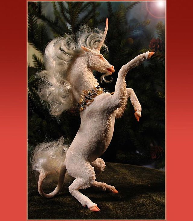 This tiny Unicorn from a few years back wishes you a bright Season!  Kato Polyclay with mohair, a mini. — #unicorn #sculpt #imaginativerealism #fantasyart #forestrogers #unicornart #magicalcreatures