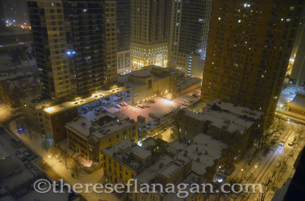 Chicago City Block at Night with Snow
