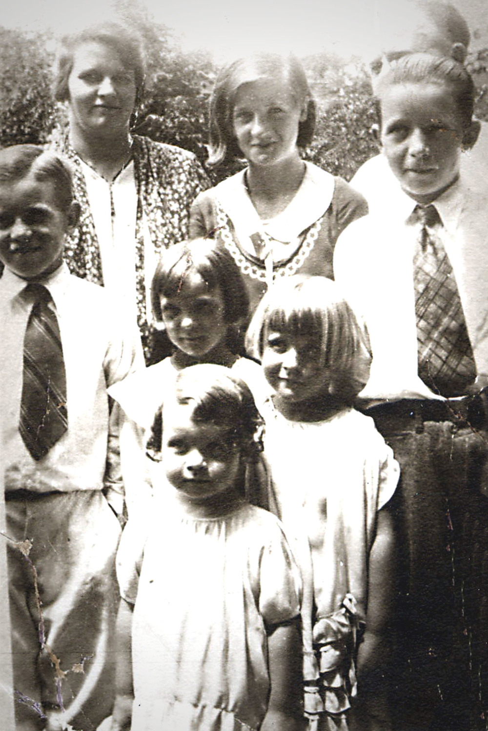 This is my mom's family, before her younger brother Don was born. My mom is the smallest girl in the foreground.