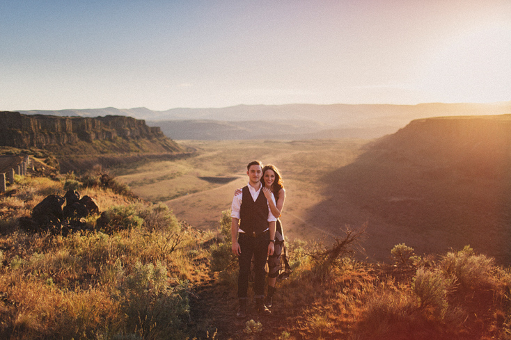 Engagement photo by the Columbia River Gorge, by Seattle wedding photographer Ryan Flynn.