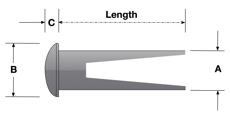 Oval Head Split or Bifurcated Rivet