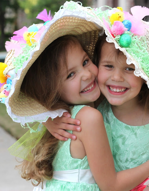adorable girls in Easter bonnets