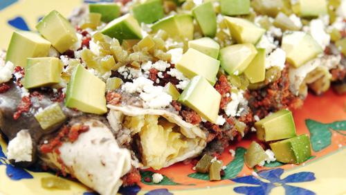 Avocado and chorizo enchiladas