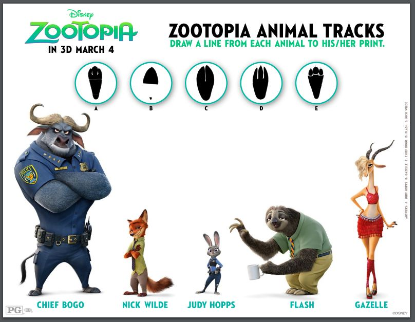 zootopia printable activity