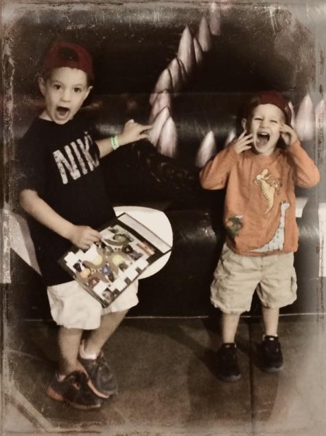 boys imitating dino