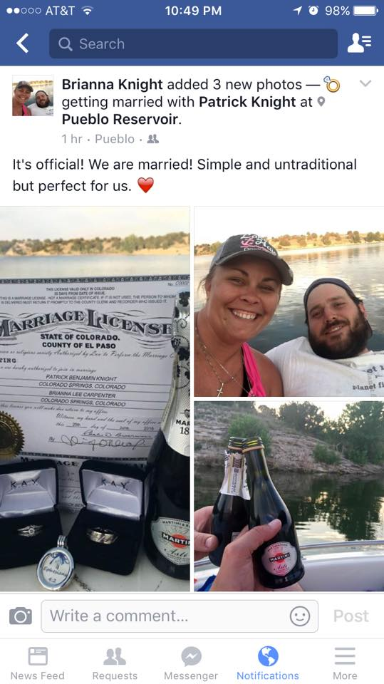 Facebook wedding announcement