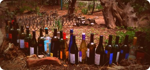 wine bottle lineup