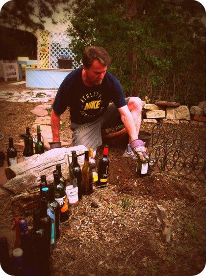 planting wine bottles