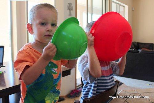 boys licking bowls