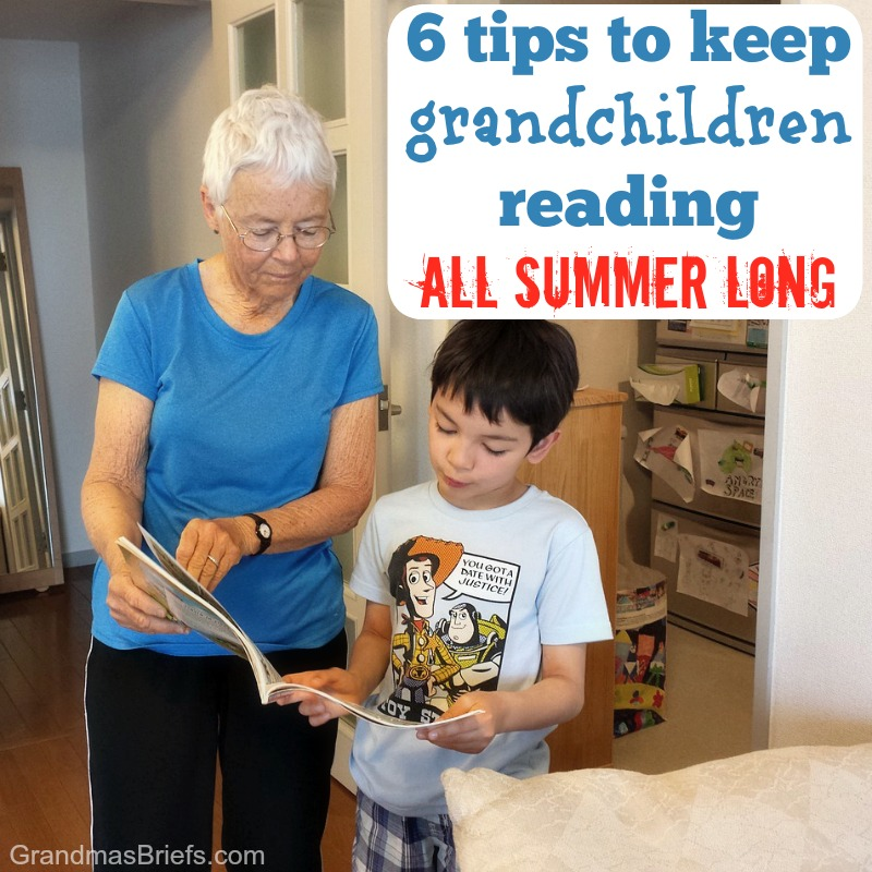 grandma and grandson reading together