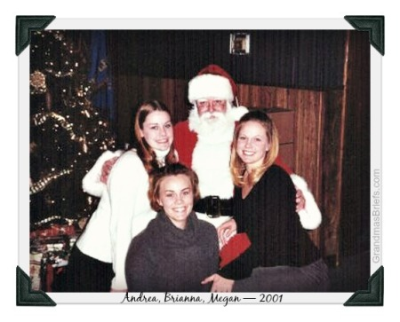 three big girls with santa