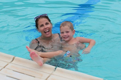 grandma and grandson in swimming pool