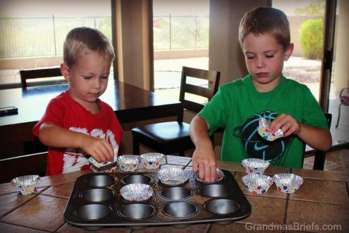 placing cupcake liners
