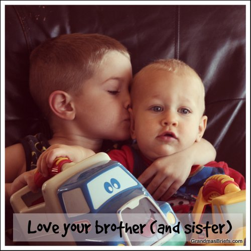 boy kissing little brother