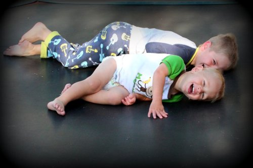 brothers on trampoline