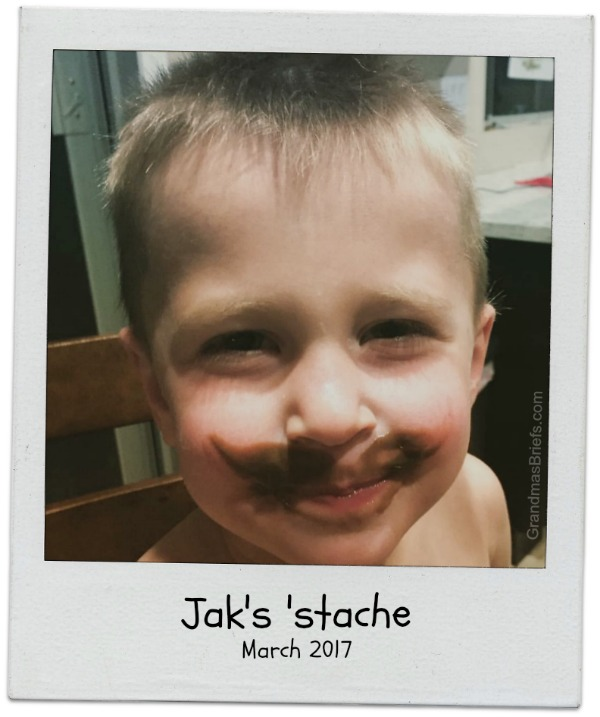 toddler mustache with pudding