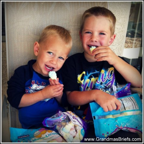 boys eating marshmallows