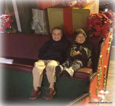 boys in Santa's sled