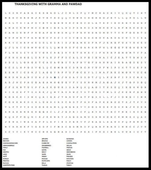 I found that for the word search puzzle, choosing a puzzle dimension of 40 lines across and 25 down creates a one-page puzzle for easy printing. (These images do not get larger if clicked because they're just personalized examples.)