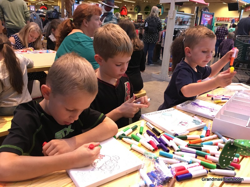 Craft time at Bass Pro Shop.