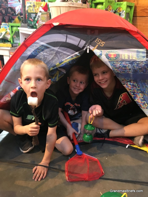 A campy campout at Bass Pro Shop.