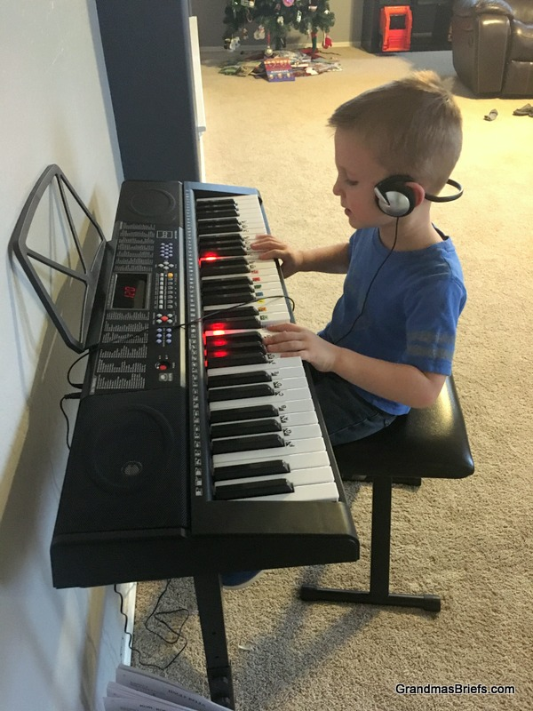 Declan's turn at the keyboard