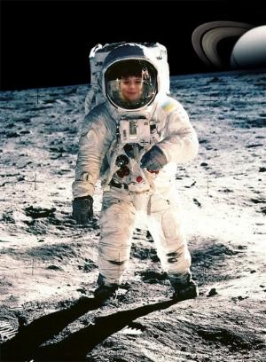 James walks on the moon!
