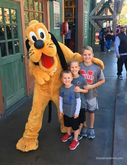 Goofy and my goofy — and jubilant! — grandsons at Disneyland Sunday.