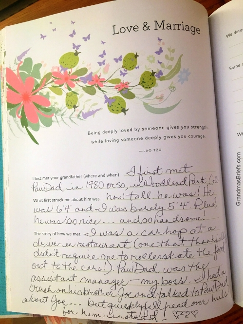 """my response to the """"Love & Marriage"""" prompt in my  Grandmother's journal ."""