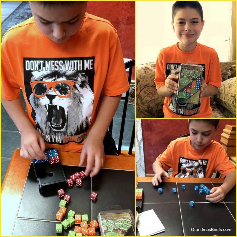 "From the Pressman Toy website: ""Battling Bones Dice Game is a fast-moving activity with a wild side. Players roll all 10 of their color dice at the same time. Dice that come up bones are wild – they count for any number you want. Keep rolling until one player has all 10 of their dice with the same number."""