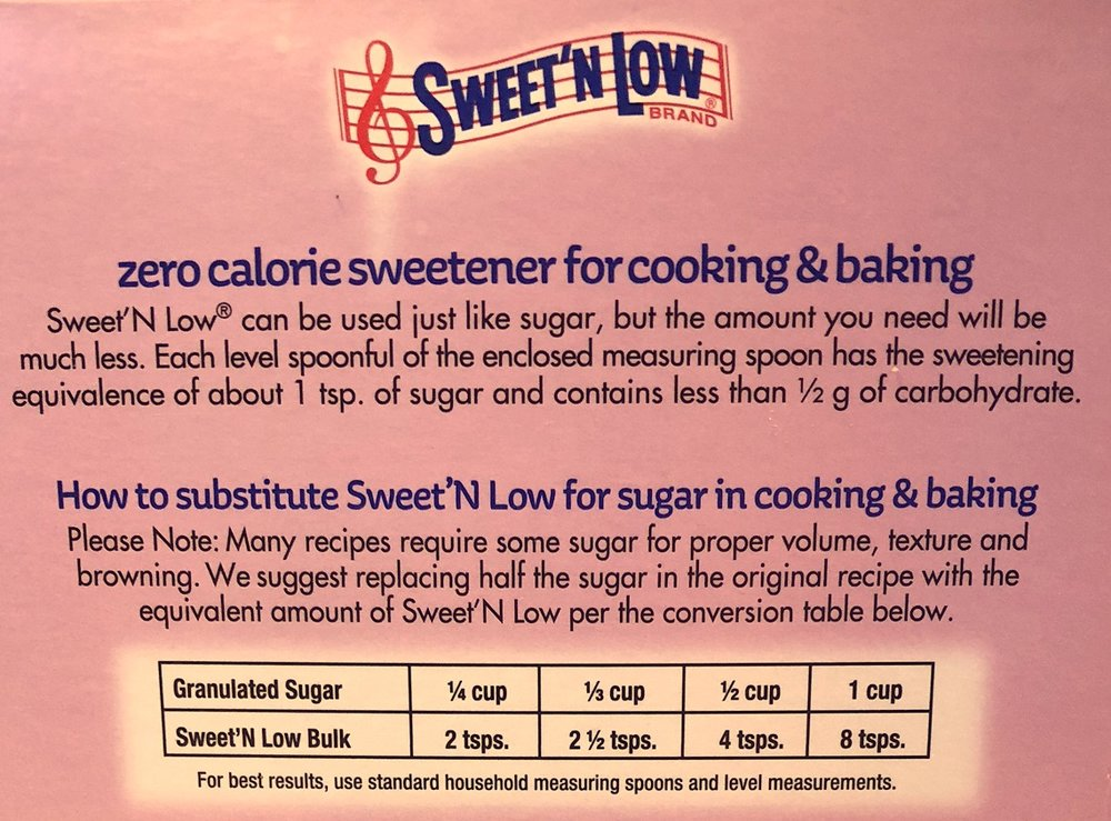 substitution guidelines from the sweet'n low© package