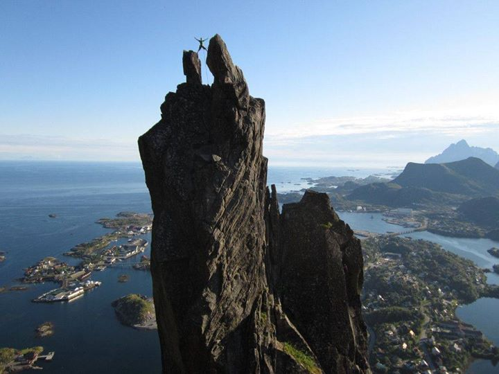At the top of Svolværgeita, Lofoten, Norway. Source: thechive.coma