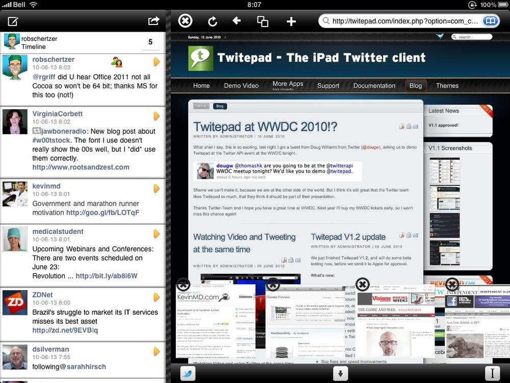 Twitepad timeline & browser