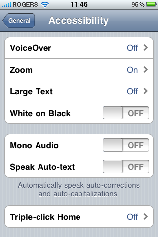 Accessibility options iOS 4
