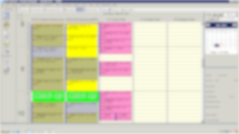 Osler Systems scheduler screen (blurred)