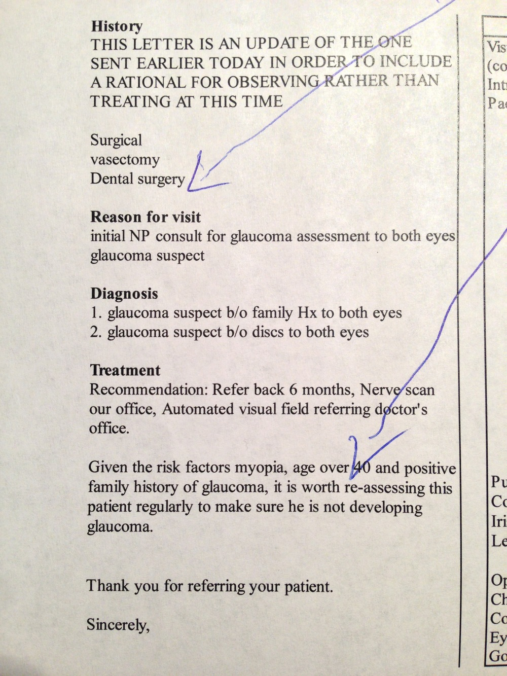 Glaucoma suspect after revising letter