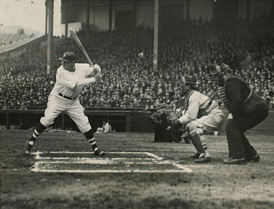 Babe Ruth Swinging to Get Home