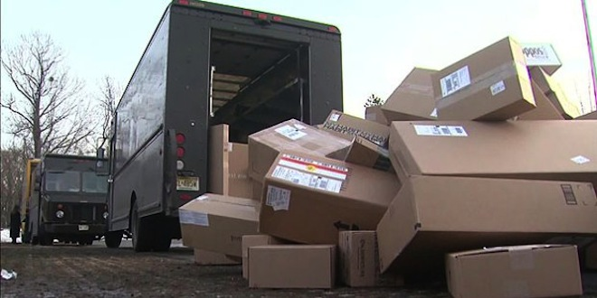 Mishandled packages, many marked Fragile. (Photo credit: www.  RuralInfo.net  )