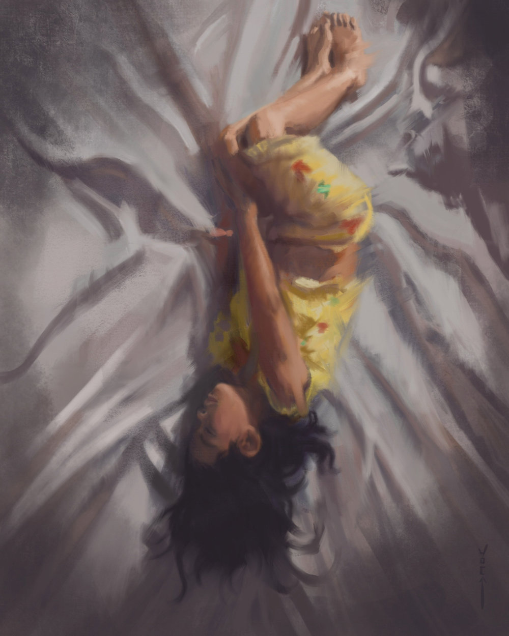 My daughter sleeping. I was able to paint this during a flight to San Diego on the plane. If only I had this during all my commutes on the DC Metro Orange Line!